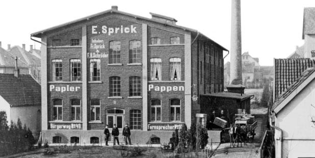 """Beitragsbild 1 zu """"Unsere Geschichte"""". Abgebildet ist das Firmengebäude des Pappengroßhandels E. Sprick"""
