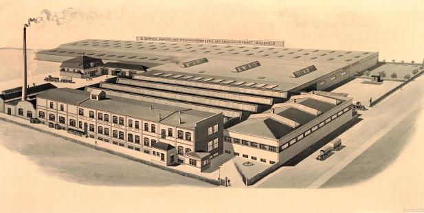 """Beitragsbild zu """"Unsere Geschichte"""". Gezeigt wird die neue Firmenzentrale an der Hanfstraße im Jahr 1908."""